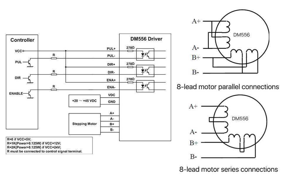 DM556 stepper motor Driver wiring